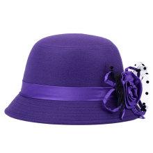 Dame Fashion Flower Imitation Wolle gestrickte Winter Bucket Hat (YKY3230)