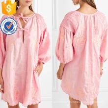 Rosa bordada linho recortada hem mini vestido de verão manufatura grosso moda feminina vestuário (t0294d)