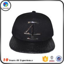 fashion custom metal plate logo snapback hats wholesale