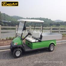 Chariot de golf de 48V 2 places d'utilité de vert électrique d'Excar Cart avec la boîte de cargaison