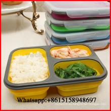 Tazón de fuente de almuerzo portátil plegable del silicón Tazón de fuente de las cajas de Bento Contenedor de almacenamiento plegable de la comida Lunchbox Eco-Friendly