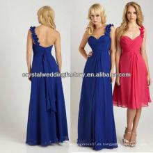 Una longitud de piso de gasa del hombro longitud azul real vestidos de dama de honor CWFab5219