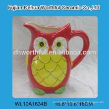 Excelente coruja em forma de jarro de água cerâmica, jarro de leite de cerâmica para atacado