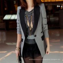 Veste de loisirs d'épaule de costume de costume de revers de dames de manteau (50020-1)