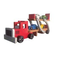 Jouet en bois de camion de transporteur de voiture avec 4 voitures de PCS pour des enfants