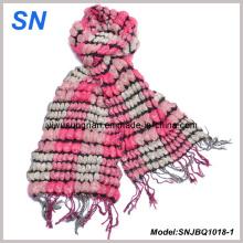 2015 Skinny Stripe Checked Invierno cálido bufanda burbujas de volante