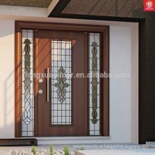 Design de porta principal de madeira de teca sólida