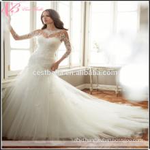 Mariage praia vestido de noiva Sweetheart See Through sexy mermaid wedding dresses Long Sleeve