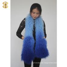 Gradient Color Winter Women Mongolian Lamb Fur Scarves Sheep Fur Scarf