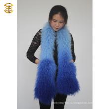 Градиентные цвета Зимние женщины Монгольские меховые шарфы из баранины Одеяло меховой шарф