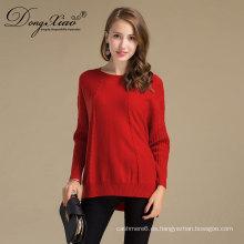 Suéter marino de las lanas de las mujeres de la alta calidad con la tela suave de los fabricantes chinos de la ropa
