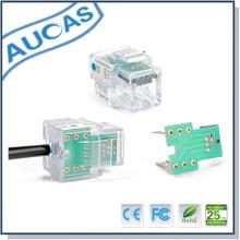 RJ11 jack modular, 6p4c rj11 plug cabeça de cristal
