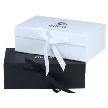 Wholesale custom print luxury white cardboard folding gift packing ribbon closure gift paper box