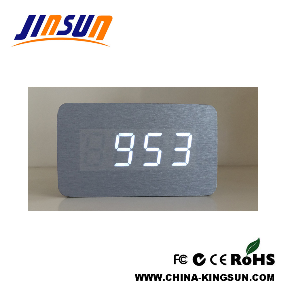 Silver Cover With White Led Clock