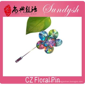 Оптовая CZ цветочные pin свадебные аксессуары цветок брошь булавки