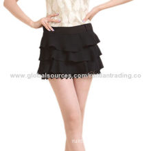 Women's mini skirt, made of cotton, OEM and ODM orders are welcome