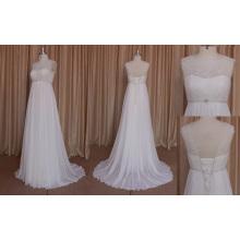 mm007 Sexy V-Backless en mousseline de soie robe de mariée 2016
