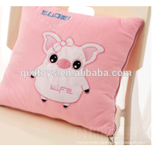china personalized pink pig plush travel blanket