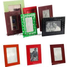 Qualité 4X6, 5X7 Cadres photo en cuir PU Cadre promotionnel en cuir cadeau