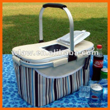 Picnic cooler bag with skylight on the cover