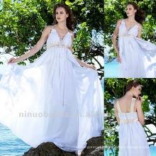 Beach Sheath Empire V Neck Silk Ribbon Brush Train Handmade Floral Wedding Dress Bridal Gown