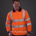 Camisa de manga larga con cuello alto azul marino Vis Viz Camisas de polo de seguridad de alta visibilidad Reflective Wear Wear Yellow Orange
