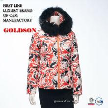 Dama de acolchado gruesa de diseño impreso especial hasta la chaqueta con capucha de piel de zorro