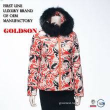 Special printed design thick padding lady down jacket with fox fur hood