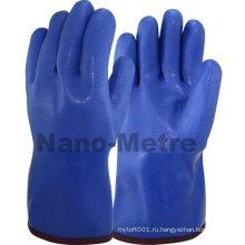 NMSAFETY покрынная PVC синий зимние теплые перчатки