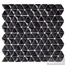 3D Black Glass Mosaic Wall Tiles