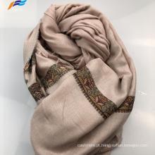 Lenço quadrado de outono elegante com estampa muçulmana de seda poliéster