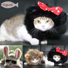 Gato leão panda mickey juba halloween vestir-se com orelhas pet filhote de cachorro peruca cosplay