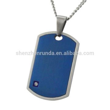 Azul chapeado com aço CNC branco rhinestone pingente de jóias dos homens