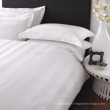 Polyester Coton 1CM / 2CM / 3CM satin rayé blanc literie en gros