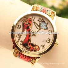 2015 nouvelle conception rouge talon a main wooven rétro montre bracelet