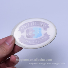 2016 custom advertising oval shape poly resin fridge magnets for promotion