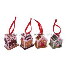 Casa de pão de gengibre pendurado decoração de lembrancinha, presente de suspensão de natal