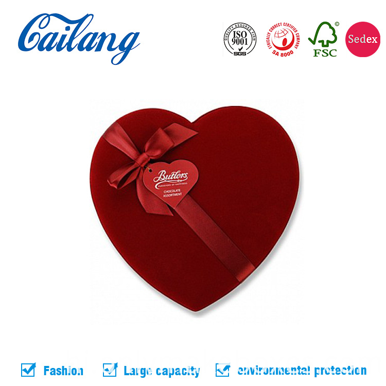 Red Fabric Heart-Shape Box for Chocolate with Divider