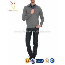 Мужчины высокая половина кнопка воротник Кашемировый пуловер