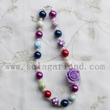 Chunky Bubblegum Rose Flower Necklace For Baby Girl Toddlers
