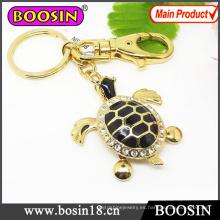 Regalo de promoción de moda Llavero de metal de tortuga de oro