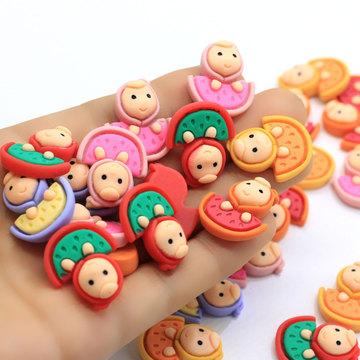 New Kawaii Assorted Resin Fruit Cabochons Flatback Dollhouse Miniatures Fruit Cabs With Cute Lovely New Born Babay Face Decor