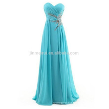 Top Selling Sweetheart Backless Evening Wear Dresses for Women 2016 A-line Crystals Chiffon Long Prom Dress Robe De Soiree