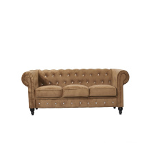 Home furniture set hotel tufted brown velvet fabric chesterfield sofa lounge couch for customized design