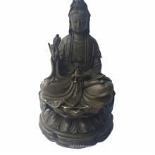 Buda Escultura de bronce Lotus Avalokitesvara Estatua de latón Tpfx-B90