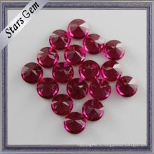 Полированная синтетическая круглая Бриллиантовая огранка Рубин свободные драгоценных камней Цена за Королевские украшения