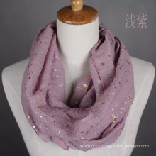 Lady Fashion Gloden Stamping Cotton Voile Infinity Scarf (YKY1089-6)
