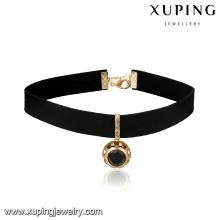 43710 Nuevo diseño de collar de gargantilla de cuero color de piedras preciosas colgante opcional para niñas