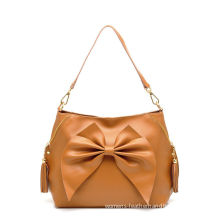 Ruffle Camel Colored Cross Shoulder Bags For Women Trendy , Soft Leather Handbag