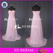 Real Sample Cheap Sweetheart A Line Long Peach Chiffon Bridesmaid Dress Wholesale